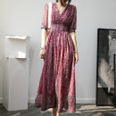 Dress Spring 2021 Red, black, red (long sleeve) S,M,L,XL longuette singleton  elbow sleeve commute V-neck High waist Broken flowers Socket routine Type A Retro Pleat, lace up, button, 3D 20X2048 Chiffon