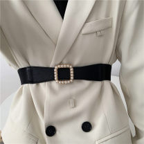 Belt / belt / chain other Black, white female belt Versatile Single loop Youth, youth Smooth button Geometric pattern soft surface 4cm alloy Naked, elastic Liu Wuwei Small square button pearl elastic band