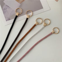 Belt / belt / chain Pu (artificial leather) black , white , grey , coffee , Pink , khaki female belt Versatile Single loop Youth, youth Smooth button Round buckle 0.8cm alloy Liu Wuwei Knit a thin belt and tie it