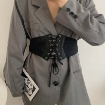 Belt / belt / chain other black female belt Versatile Single loop Youth, youth other soft surface 15cm alloy Tightness Liu Wuwei 4 cross line waistband