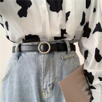 Belt / belt / chain Pu (artificial leather) currency belt Versatile Single loop Youth, youth Smooth button Round buckle soft surface 2.3cm alloy alone Liu Wuwei