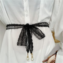 Belt / belt / chain other Black, white currency belt Versatile Single loop Youth, youth other soft surface 4cm alloy Weave, hollow out, bow Liu Wuwei Lace lace belt 2 Beads
