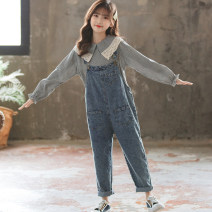 trousers Keninke female 130cm,140cm,150cm,160cm,165cm Light blue, grey spring and autumn trousers leisure time There are models in the real shooting Jeans Button middle-waisted Denim Don't open the crotch Cotton 93% other 7% Chinese Mainland