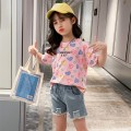 suit Keninke Pink 110cm,120cm,130cm,140cm,150cm female summer Korean version Short sleeve + pants 2 pieces Thin money There are models in the real shooting Socket nothing printing Cotton blended fabric Expression of love Class B Cotton 40% other 60% 12 years old Chinese Mainland