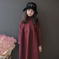 Dress Jujube female Keninke 110cm, 120cm, 130cm, 140cm, 150cm, 160cm, the size should not be enlarged Polyethylene terephthalate (polyester) 60% cotton 20% others 20% spring and autumn Korean version Petticoat Solid color Cotton blended fabric Irregular Class B Chinese Mainland