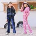 suit Keninke Pink, blue 120cm,130cm,140cm,150cm,160cm,165cm female spring and autumn Korean version Long sleeve + pants 2 pieces routine There are models in the real shooting Zipper shirt No detachable cap Solid color other Expression of love Class B Other 100% Chinese Mainland