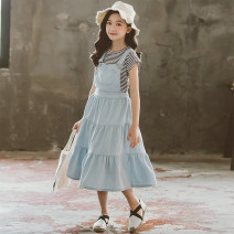 Dress Light blue, blue, white Long Sleeve T-Shirt + blue strap skirt female Other / other 110cm,120cm,130cm,140cm,150cm,160cm,165cm Cotton 95% other 5% spring and autumn Korean version Skirt / vest Solid color cotton Denim skirt Blue 2 2, 3, 4, 5, 6, 7, 8, 9, 10, 11, 12, 13, 14 years old