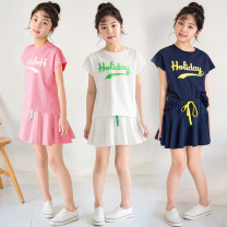 suit Keninke White, pink, blue 110cm,120cm,130cm,140cm,150cm,160cm,165cm female summer Korean version Short sleeve + skirt 2 pieces routine There are models in the real shooting Socket nothing other cotton Expression of love Cotton 95% other 5% Chinese Mainland
