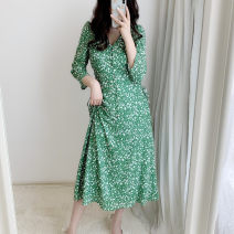Dress Medium length skirt singleton  elbow sleeve Sweet V-neck High waist Design and color Condom routine A-line skirt 91% (inclusive) - 95% (inclusive) 30-34 years old polyester fiber Type A Autumn 2020 Other Frenulum Chiffon DS-18216 solar system S,M
