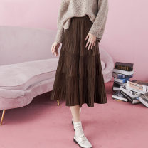 skirt Winter 2020 XS S M L XL Mid length dress commute High waist A-line skirt Solid color Type A 25-29 years old More than 95% ZK polyester fiber fold Retro Polyester 100% Same model in shopping mall (sold online and offline)