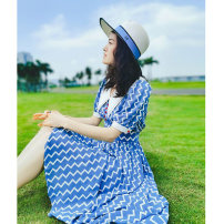 Dress Summer 2020 Wavy dress S,M,L,XL Mid length dress singleton  Short sleeve commute Double collar High waist stripe Single breasted Princess Dress routine straps 30-34 years old Type A lady Stitching, wave, print More than 95% Chiffon polyester fiber