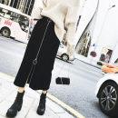 skirt Autumn 2020 S,M,L,XL,2XL,3XL,4XL,5XL black commute High waist skirt Solid color Type A 51% (inclusive) - 70% (inclusive) other cotton Three dimensional decoration, zipper Korean version