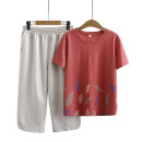 Middle aged and old women's wear Summer 2020 Navy, red commute suit easy Two piece set Flower and bird pattern 40-49 years old Socket thin Crew neck routine routine Other / other cotton 96% and above Cropped Trousers other other Simplicity