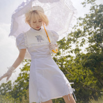Dress Summer of 2019 White, blue purple S,M,L Short skirt singleton  Short sleeve Sweet High collar High waist A-line skirt puff sleeve Type X 91% (inclusive) - 95% (inclusive) cotton solar system