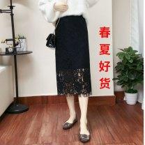 skirt Autumn of 2018 S,M,L,XL,2XL,3XL,4XL,5XL,6XL White, black, light blue, black model 2, white split, light blue split, water soluble lace black, model black, model black split Mid length dress Type H Lace