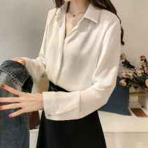 T-shirt Autumn 2020 Long sleeves Polo collar easy Regular routine commute other 51% (inclusive) - 70% (inclusive) 25-29 years old Korean version originality Solid color Stereo decoration, button