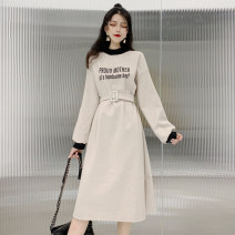 Dress Winter of 2018 Apricot, black M,L,XL,2XL,3XL longuette singleton  Long sleeves commute Crew neck Elastic waist letter Socket other routine Others 18-24 years old Type H Other / other Korean version Bandage 51% (inclusive) - 70% (inclusive) acrylic fibres