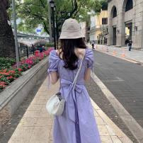 Dress Summer 2021 violet S,M,L,XL,2XL longuette singleton  Short sleeve commute square neck Solid color A-line skirt Others Retro bow other