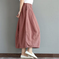 skirt Summer 2021 Average size Mid length dress commute Natural waist Pleated skirt Solid color Type O 30-34 years old 81% (inclusive) - 90% (inclusive) other cotton Collage / stitching Retro