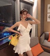 Dress Summer 2020 White, black, light blue S,M,L Short skirt singleton  Sleeveless street V-neck High waist Ruffle Skirt Type A Europe and America