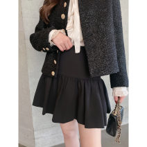 skirt Winter 2020 XS,S,M,L black Short skirt commute High waist A-line skirt Solid color Type A CskCupidsKiss fold