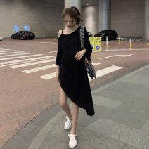 Dress Summer 2020 White, black Average size Mid length dress singleton  three quarter sleeve commute Slant collar Loose waist Solid color Socket Irregular skirt routine camisole 18-24 years old Type H Other / other Korean version 31% (inclusive) - 50% (inclusive) other polyester fiber