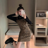 Dress Autumn 2020 Leopard suspender skirt, black base coat Average size Short skirt singleton  commute square neck High waist Leopard Print Socket A-line skirt straps 18-24 years old Type A Other / other Korean version 51% (inclusive) - 70% (inclusive) other