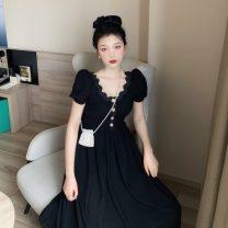 Dress Summer 2020 black S,M,L longuette singleton  Short sleeve commute High waist Socket puff sleeve 18-24 years old Type A Korean version