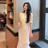 Dress Summer 2020 Picture color S,M,L Mid length dress Short sleeve commute V-neck Solid color puff sleeve 18-24 years old Korean version