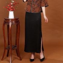 skirt Summer 2020 L,XL,2XL,3XL,4XL Black, decor, dark green, black short longuette Versatile Natural waist Pencil skirt Solid color Type H 40-49 years old More than 95% Silk and satin silk printing