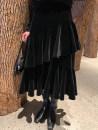 skirt Winter 2020 S,M,L black longuette commute High waist Ruffle Skirt Solid color Type A velvet polyester fiber fold Retro