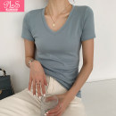 T-shirt S M L XL XXL Summer 2021 Short sleeve V-neck Self cultivation Regular routine commute cotton 96% and above 25-29 years old Korean version Solid color Palanshe Cotton 97% polyurethane elastic fiber (spandex) 3% Pure e-commerce (online only)