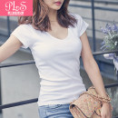 T-shirt S M L XL XXL Summer 2021 Short sleeve V-neck Self cultivation Regular routine commute cotton 96% and above 18-24 years old Korean version originality Solid color Palanshe Cotton 97% polyurethane elastic fiber (spandex) 3% Pure e-commerce (online only)