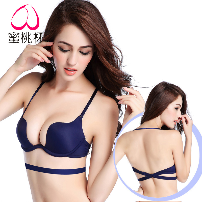 Bras U type Three quarters of Multi shoulder straps With steel ring 70A70B70C70D75A75B75C75D80A80B80C80D85A85B85C85D Color, red, pink, purple, black, blue, white, white Rear single row buckle Peach Cup Young women Beauty back Thin under thick mold cup No insert B8098 Pure color Glossy summer other No