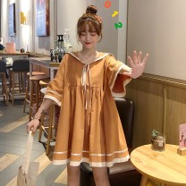 Dress Summer of 2019 Yellow green Khaki Average size Middle-skirt singleton  Short sleeve commute Admiral Loose waist Solid color Socket A-line skirt pagoda sleeve 18-24 years old Type A Xianweiya Korean version Lotus leaf edge 51% (inclusive) - 70% (inclusive) cotton Cotton 66.3% polyester 33.7%