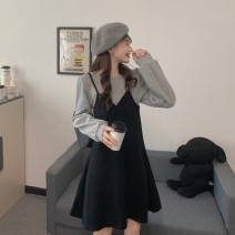 Dress Autumn 2020 Black with grey apricot with caramel Average size Middle-skirt singleton  Long sleeves commute Crew neck Loose waist Solid color Socket A-line skirt routine 18-24 years old Type A Xianweiya Korean version UsqC60 71% (inclusive) - 80% (inclusive) polyester fiber