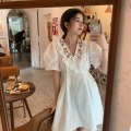Dress Summer 2021 White light blue S M Middle-skirt singleton  Short sleeve commute V-neck High waist Solid color Socket Pleated skirt puff sleeve Others 18-24 years old Type A Xianweiya Korean version 6892# 31% (inclusive) - 50% (inclusive) brocade cotton Cotton 31% others 69%