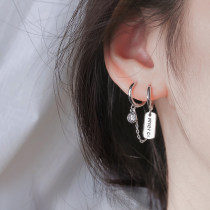 Earrings Miss Z Silver ornaments 51-100 yuan brand new Japan and Korea female goods in stock other other Fresh out of the oven 925 Silver T-EQ025 Letter hangtag silver single, smiling face silver single, letter H silver single, link single sales need a pair of quantity to choose 2