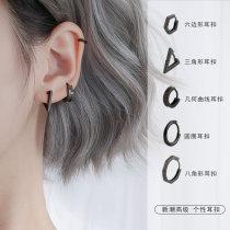black Ear Studs 2021 new pattern tide Ear buckle female Sterling Silver Ear buckle type Earrings Circle Earring female temperament the republic of korea