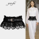 Belt / belt / chain cloth White black female Waistband grace Single loop Middle aged youth Pin buckle Flower design Glossy surface 16cm alloy Bare cut lace thick line decoration elastic Purple heart bamboo zxz-0985 Summer 2020 no
