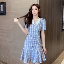 Dress Summer 2021 Collared dress, collarless skirt S,M,L,XL Short skirt singleton  Short sleeve commute V-neck High waist lattice Socket A-line skirt routine 18-24 years old Type A Korean version 30% and below polyester fiber