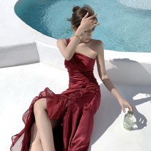 Dress Spring 2021 claret S,M,L longuette singleton  Sleeveless commute One word collar High waist Solid color Socket A-line skirt Oblique shoulder 25-29 years old Type A Retro 31% (inclusive) - 50% (inclusive) Silk and satin polyester fiber