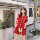 Dress Autumn 2020 White, red Average size Middle-skirt singleton  Long sleeves commute V-neck Loose waist Solid color Socket Princess Dress bishop sleeve Others 18-24 years old Type A Retro tassels