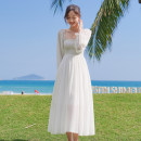 Dress Summer 2021 white S,M,L,XL Mid length dress singleton  Long sleeves Sweet One word collar High waist Solid color zipper Big swing 25-29 years old Type A Chiffon Bohemia