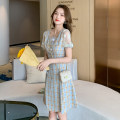 Dress Summer 2021 Picture color S,M,L,XL Mid length dress singleton  Short sleeve Sweet square neck High waist lattice Socket A-line skirt puff sleeve Others 25-29 years old Type A Button, button 31% (inclusive) - 50% (inclusive)
