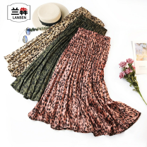 skirt Summer of 2019 Average size Pink apricot green longuette street Natural waist Pleated skirt Solid color More than 95% LAN Zhen other Other 100% neutral