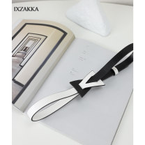 Belt / belt / chain Double skin leather Black and white color matching female belt Simplicity Single loop Middle aged youth Smooth button Geometric pattern Glossy surface 1.7cm alloy alone IXZAKKA Spring 2021 no