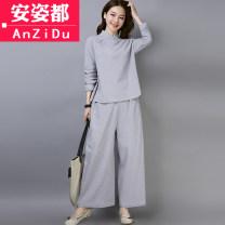 jacket Autumn of 2018 M L XL 2XL White [two piece suit] gray [two piece suit] AZD18C6109 Anzido Cotton 61.8% flax 38.2% Pure e-commerce (online only)