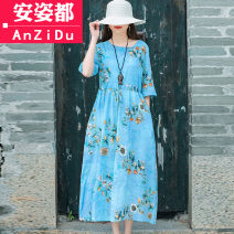 Dress Spring 2021 Light blue light green M L XL 2XL longuette singleton  elbow sleeve commute Crew neck Elastic waist Decor Socket A-line skirt routine Others 25-29 years old Type A Anzido ethnic style Pleated pocket lace up print AZD20D6146 51% (inclusive) - 70% (inclusive) cotton