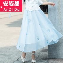 skirt Spring of 2019 One size fits all White [skirt only] light blue [skirt only] pink [skirt only] Mid length dress commute Natural waist A-line skirt other Type A 25-29 years old AZD19A6719 More than 95% Chiffon Anzido other Three dimensional decorative stitching 3D ethnic style Other 100%